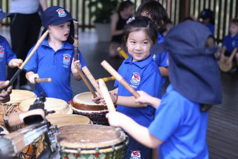 Kindy students enjoying music