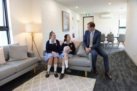 Director of Boarding with Year 12 students, in Year 12 girls wing