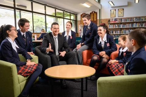 Principal Chris Bradbury and Students of Northholm Grammar