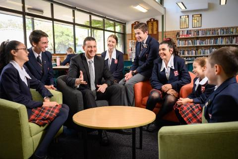 Principal Chris Bradbury and Students of Northholm Grammar