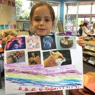 Students enjoy presenting their work, like this poster on nature and the environment