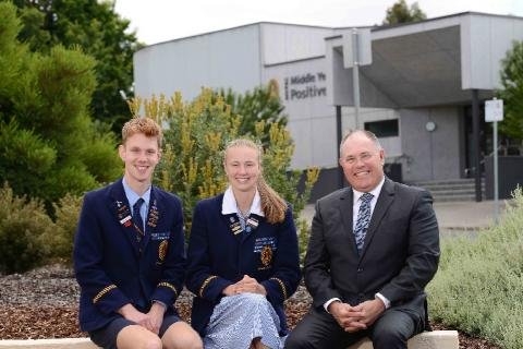 Principal, Dr Andrew Hirst, with 2021 School Captains