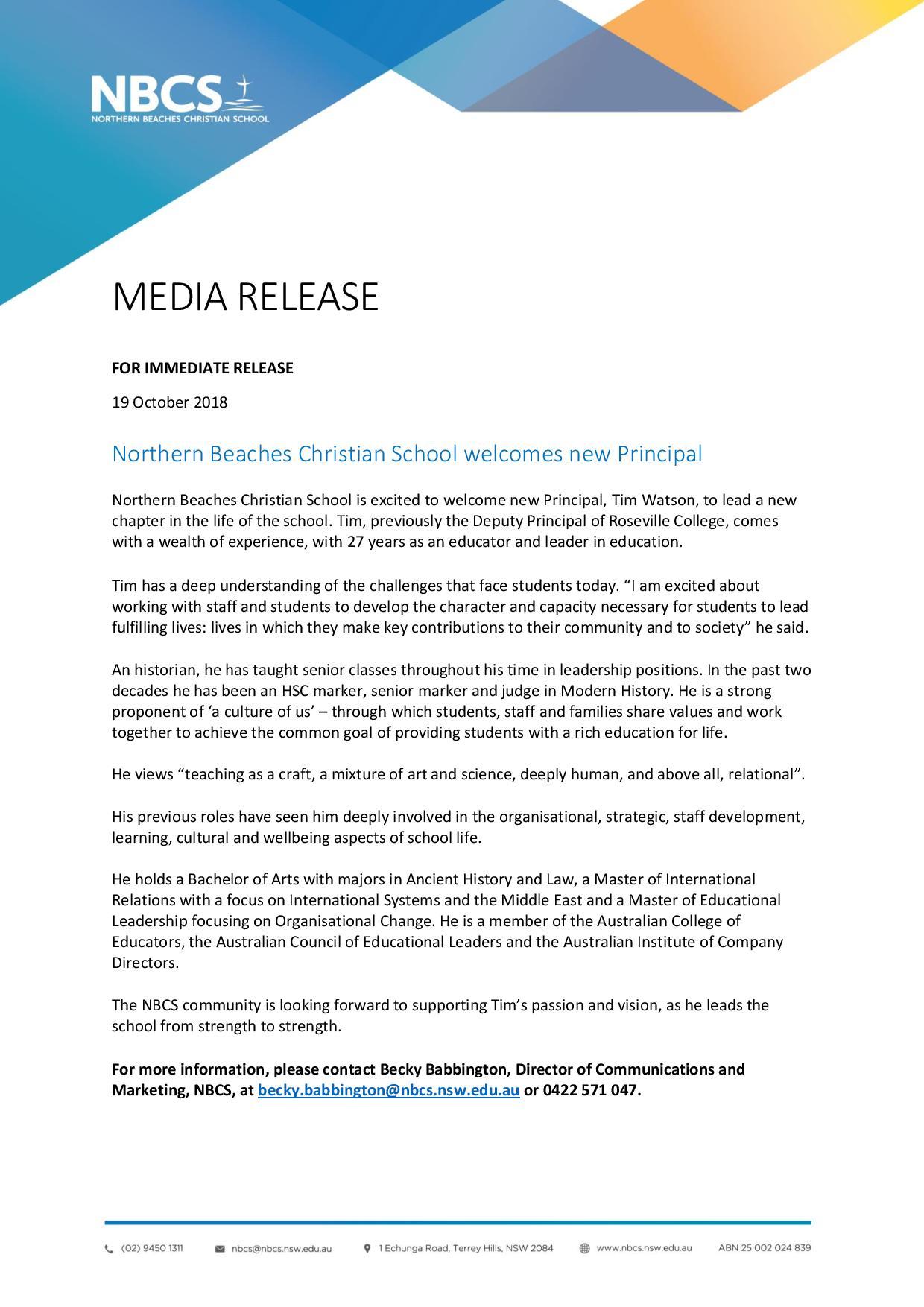 NBCS media release